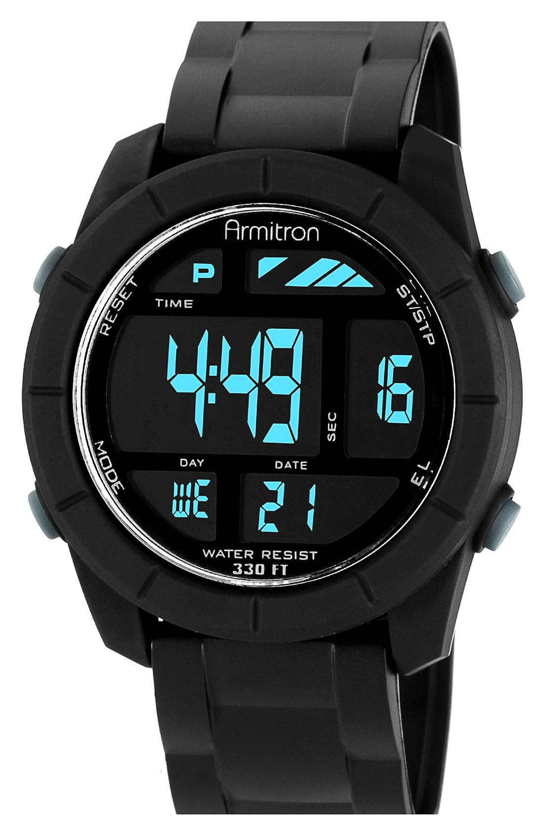 Round Digital Sport Watch, 48mm, Main, color, 001