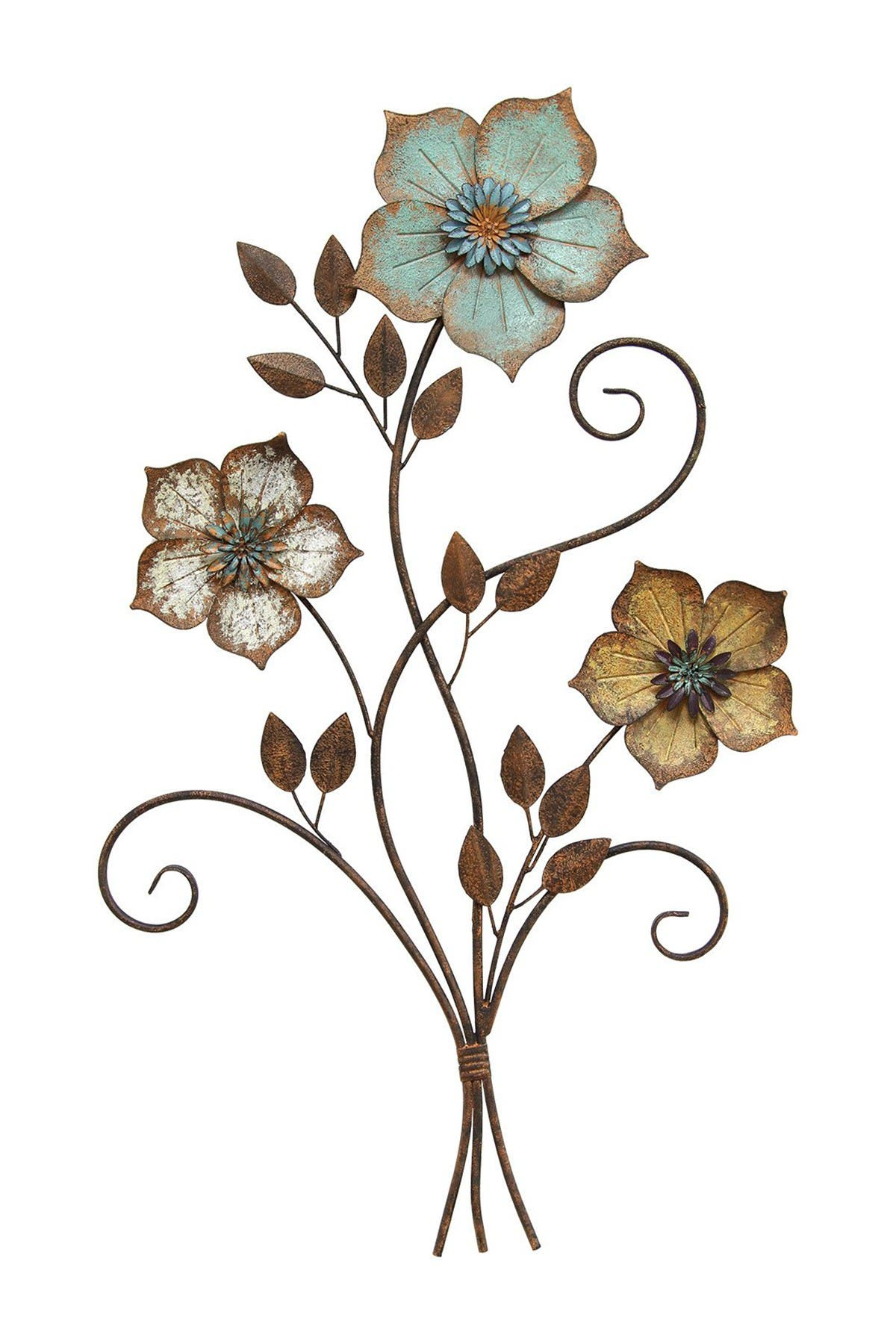 Image of Stratton Home Multi Tricolor Flower Wall Decor