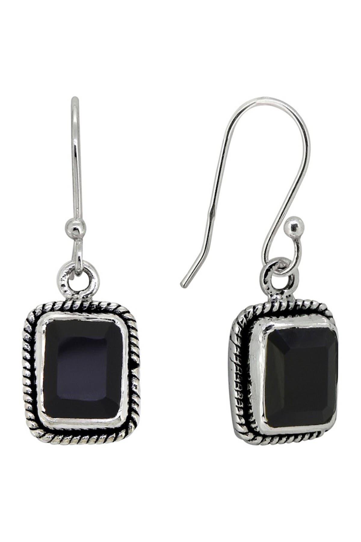 00165 Onyx Dangle Earrings in Sterling Silver by allotria Dangle /& Drop Black Onyx Earrings
