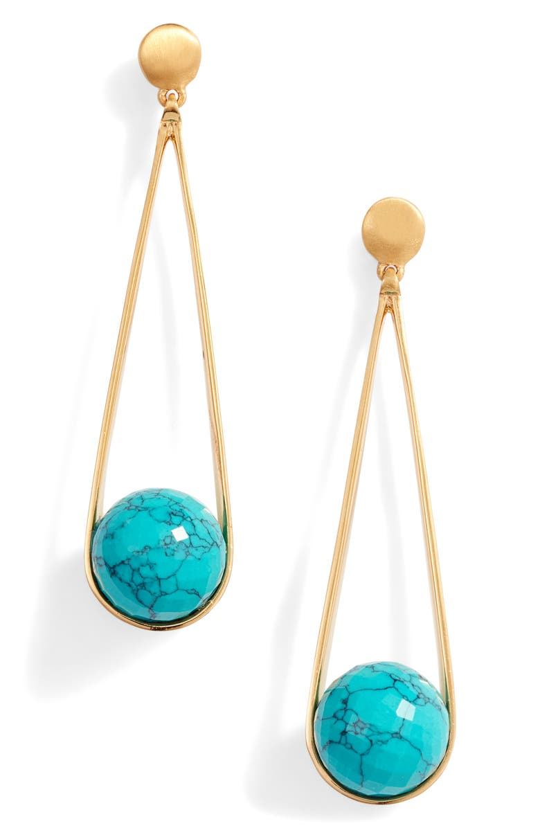 DEAN DAVIDSON Bossa Ipanema Turquoise Swing Earrings, Main, color, GOLD/ TURQUOISE