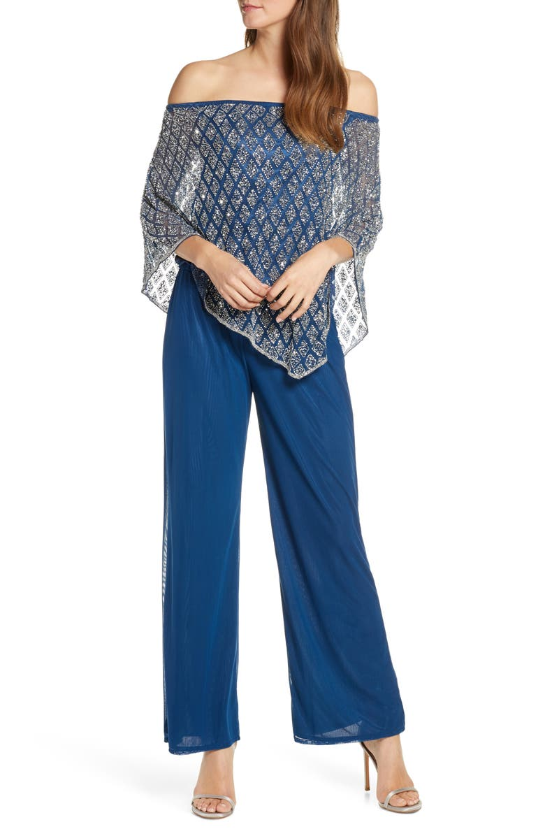 PISARRO NIGHTS Off the Shoulder Beaded Cape Jumpsuit, Main, color, PETROL BLUE