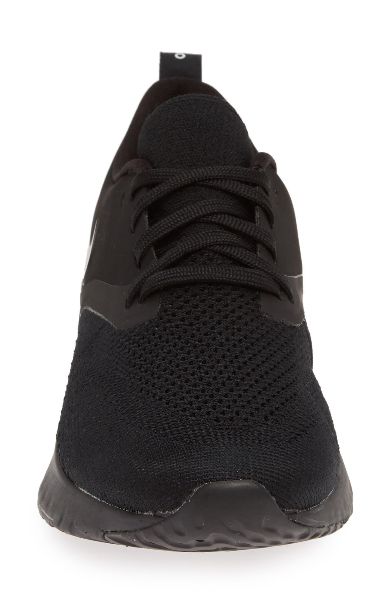 ,                             Odyssey React 2 Flyknit Running Shoe,                             Alternate thumbnail 4, color,                             BLACK/ BLACK/ WHITE