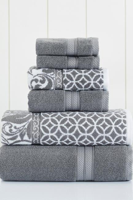 Image of Modern Threads Platinum Trefoil Filigree Reversible Yarn-Dyed Jacquard 6-Piece Towel Set