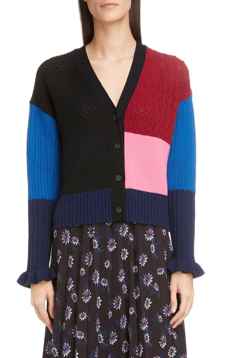 KENZO Colorblock Wool & Cashmere Crop Cardigan, Main, color, BORDEAUX