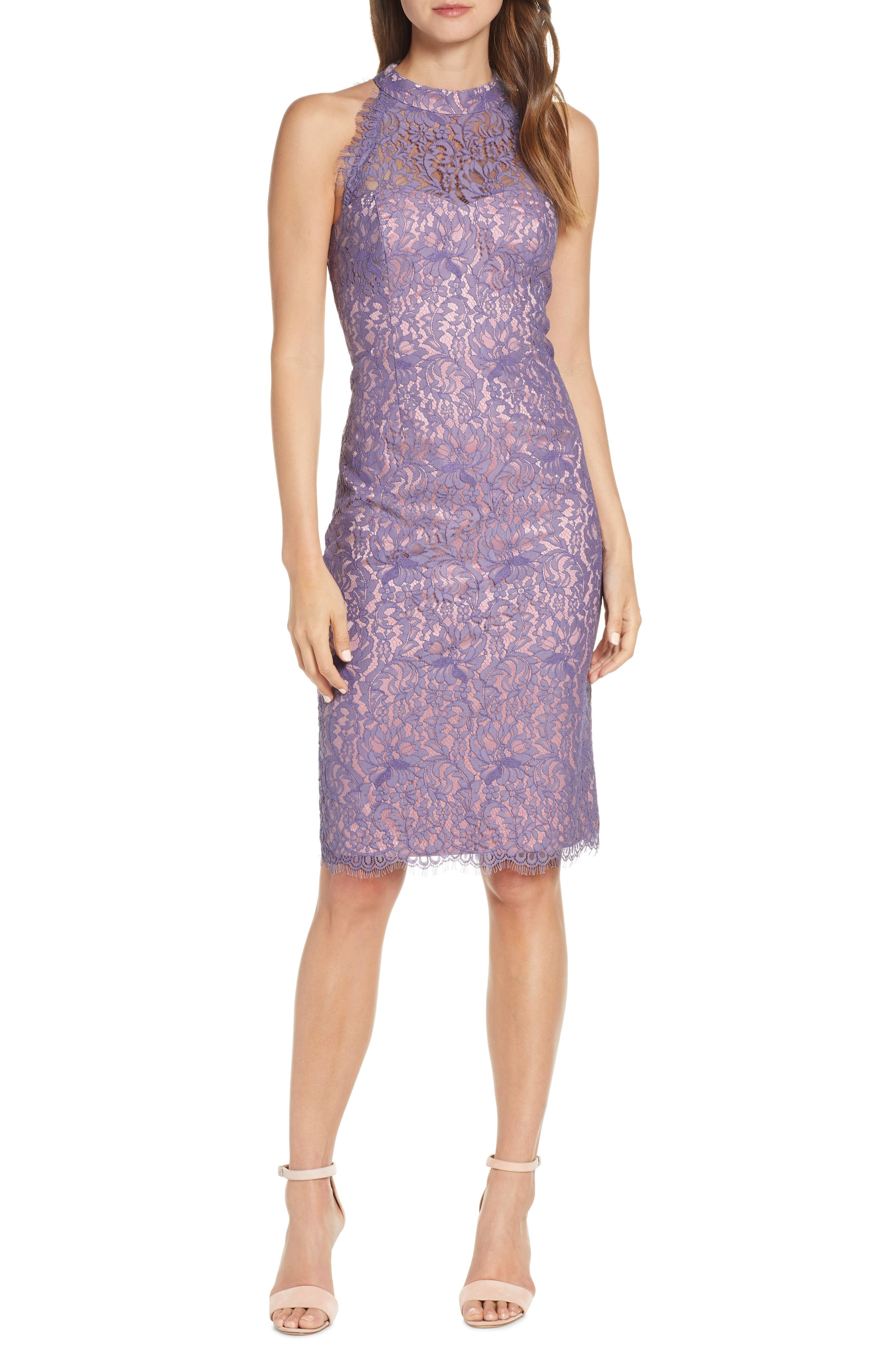 Lilac Halter Sheath Dress