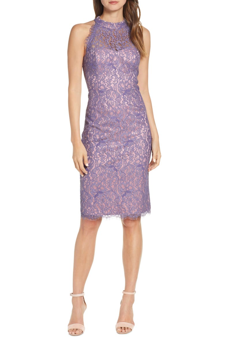 ELIZA J Lace Halter Neck Sheath Dress, Main, color, LAVENDER