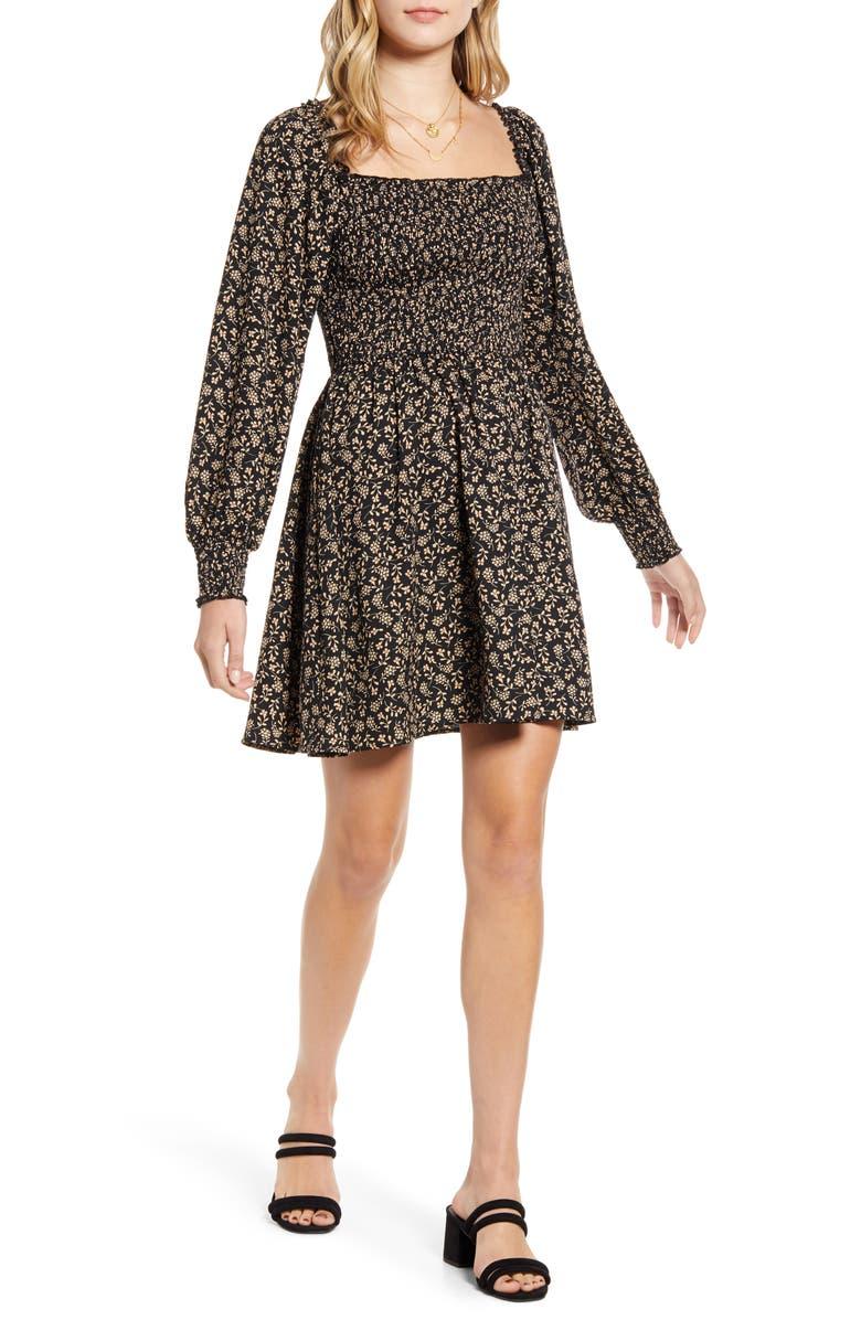 BAND OF GYPSIES Smocked Bodice Long Sleeve Minidress, Main, color, 001
