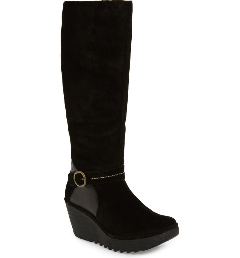 FLY LONDON Yavu Knee High Boot, Main, color, BLACK SUEDE