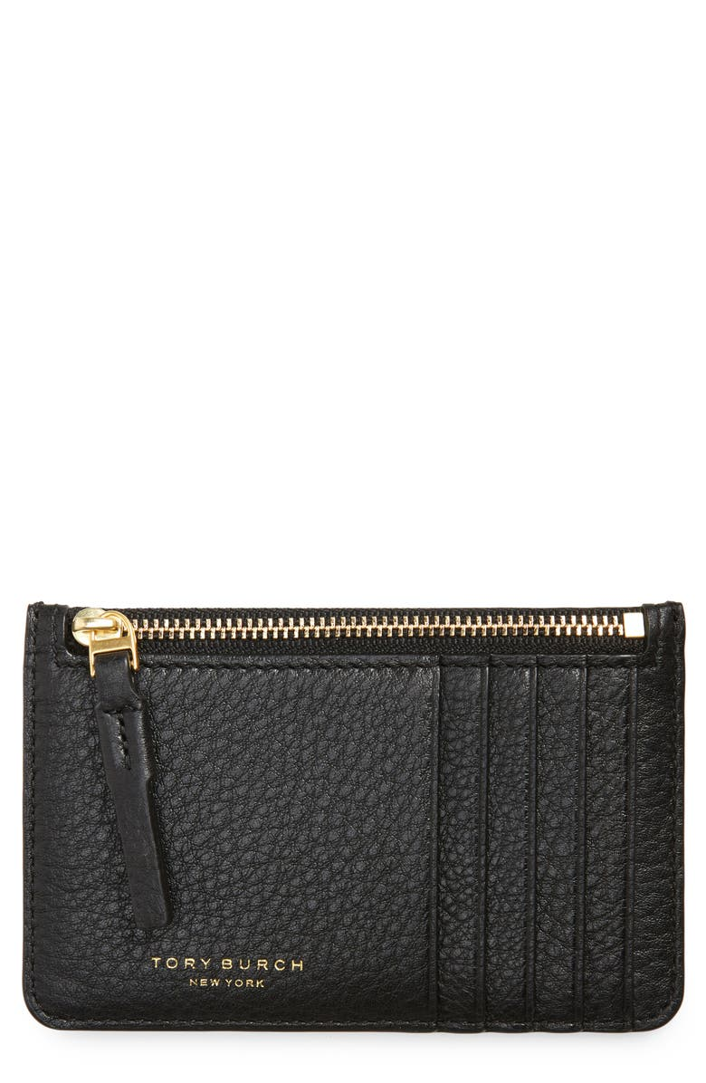 TORY BURCH Perry Zip Leather Card Case, Main, color, BLACK