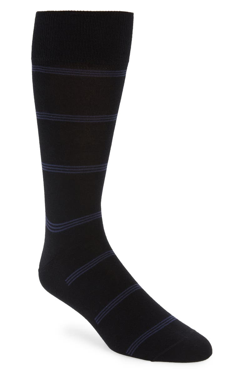 NORDSTROM SIGNATURE Stripe Pima Cotton Blend Dress Socks, Main, color, BLACK/ BLUE