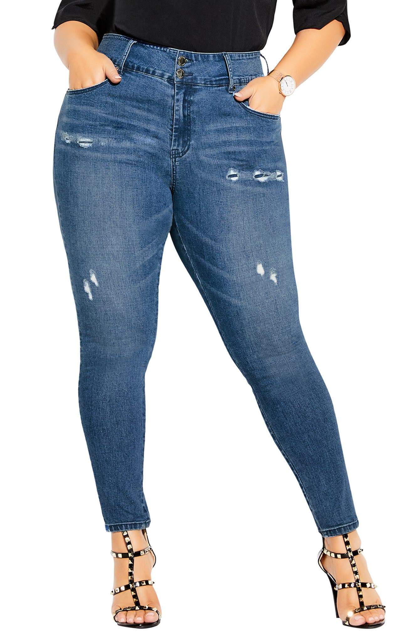 Baby High Waist Ripped Skinny Jeans