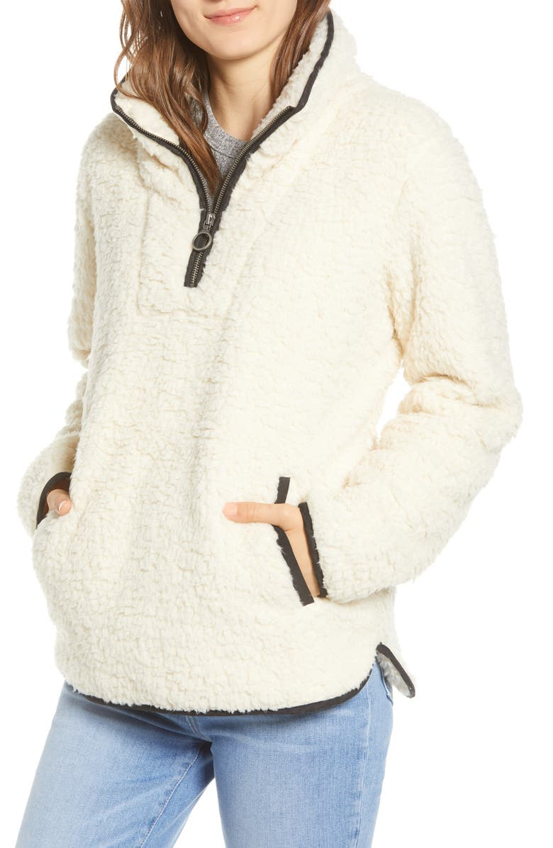 THREAD & SUPPLY Wubby Fleece Pullover, Main, color, MILK