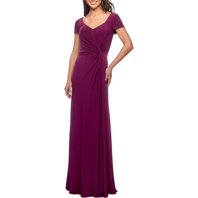 La Femme Twist Front Jersey Gown, Pink