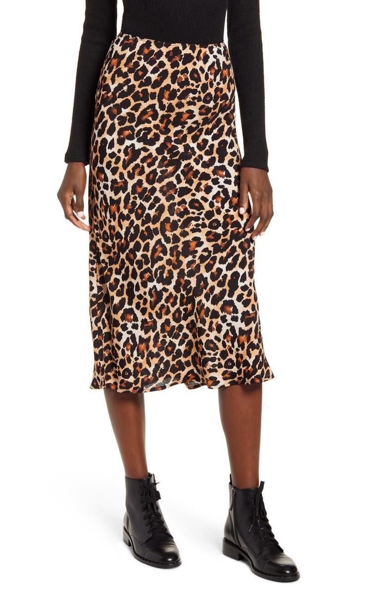 BAND OF GYPSIES Wild Thing Midi Slip Skirt, Main, color, BROWN/ BLACK