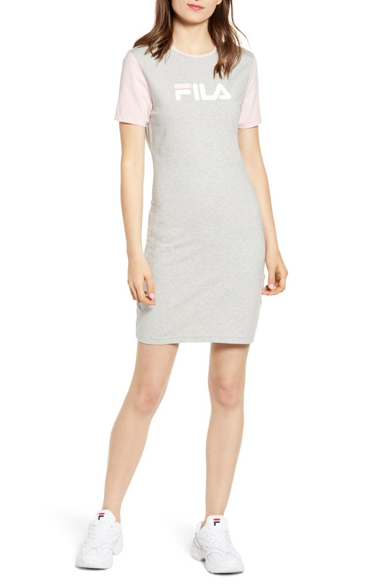 FILA Roslyn T-Shirt Minidress, Main, color, LIGHT GREY MARL/ PINK CHALK