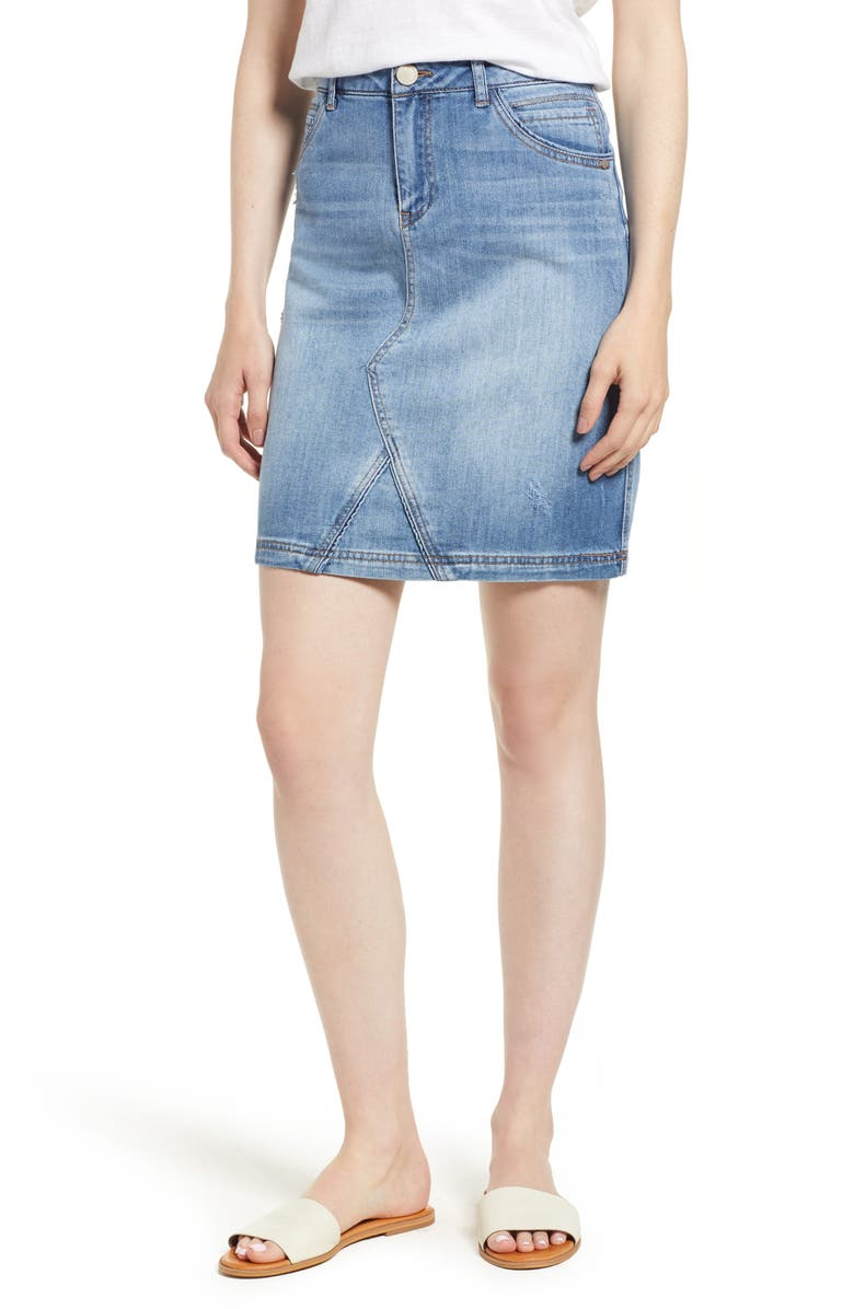 WIT & WISDOM Stretch Denim Skirt, Main, color, 458