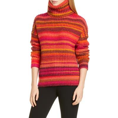 Altuzarra Kelley Stripe Wool Blend Turtleneck Sweater, Pink