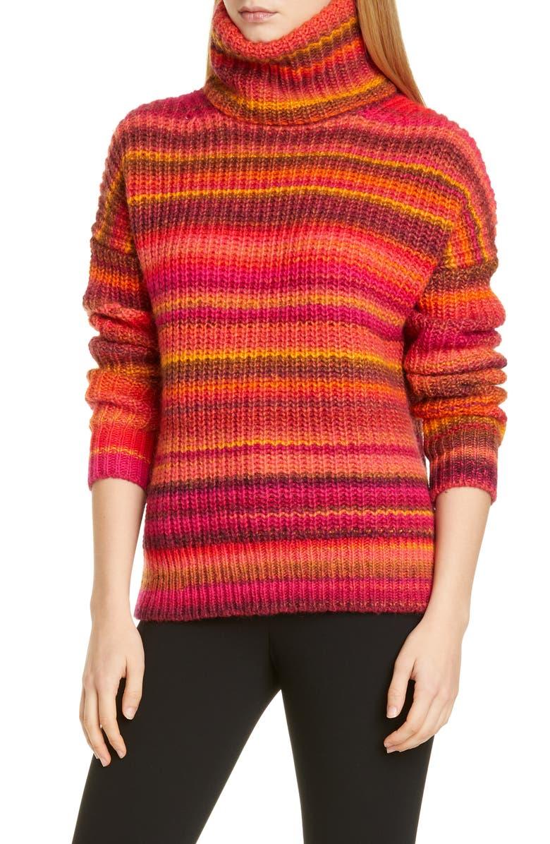 ALTUZARRA Kelley Stripe Wool Blend Turtleneck Sweater, Main, color, 650