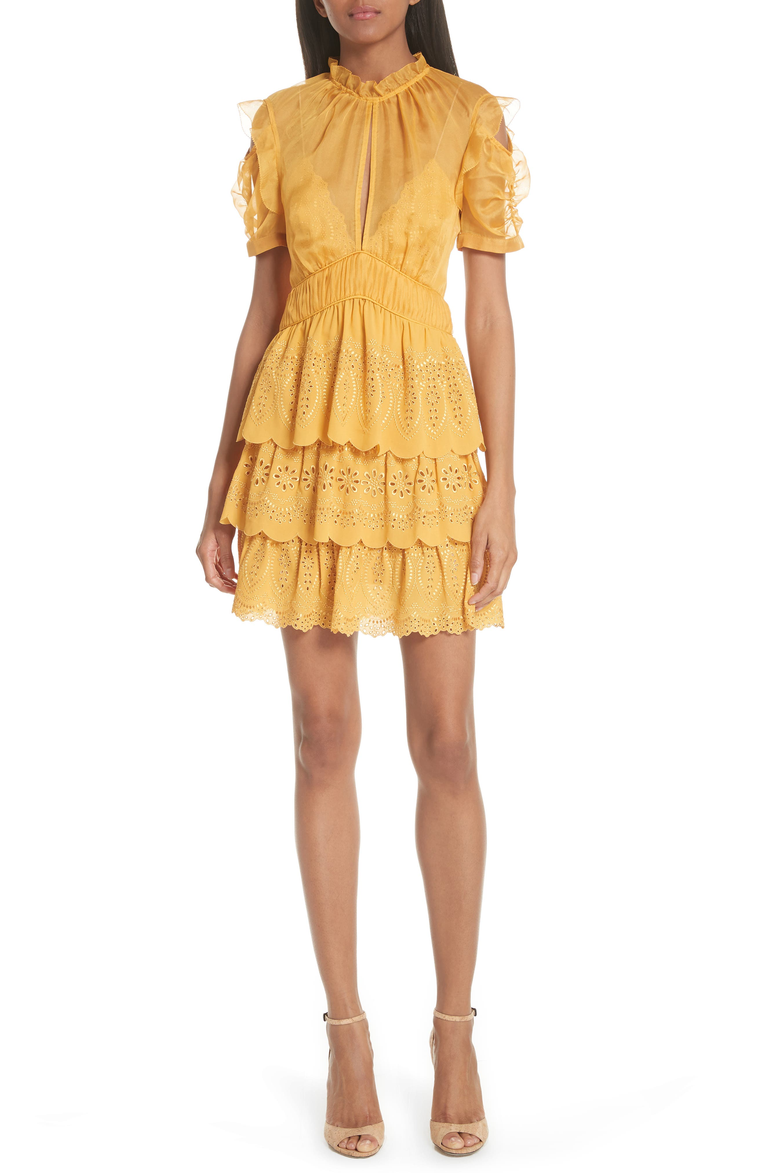 ,                             Chiffon & Broderie Anglaise Dress,                             Main thumbnail 1, color,                             700