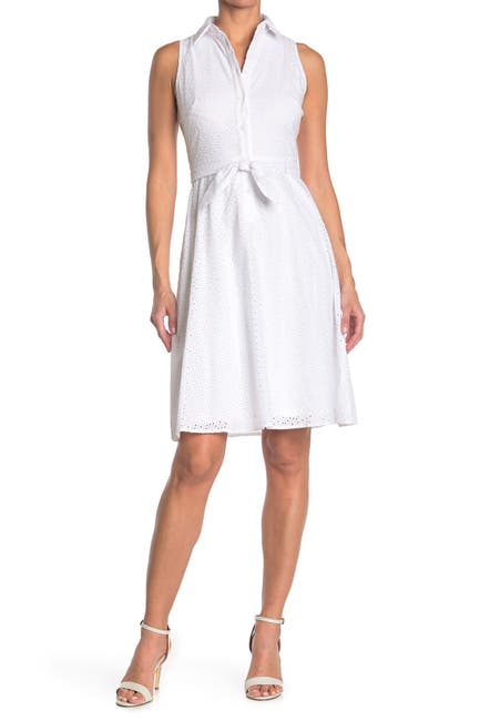 Image of London Times Embroidered Eyelet Sleeveless Tie Waist Shirt Dress