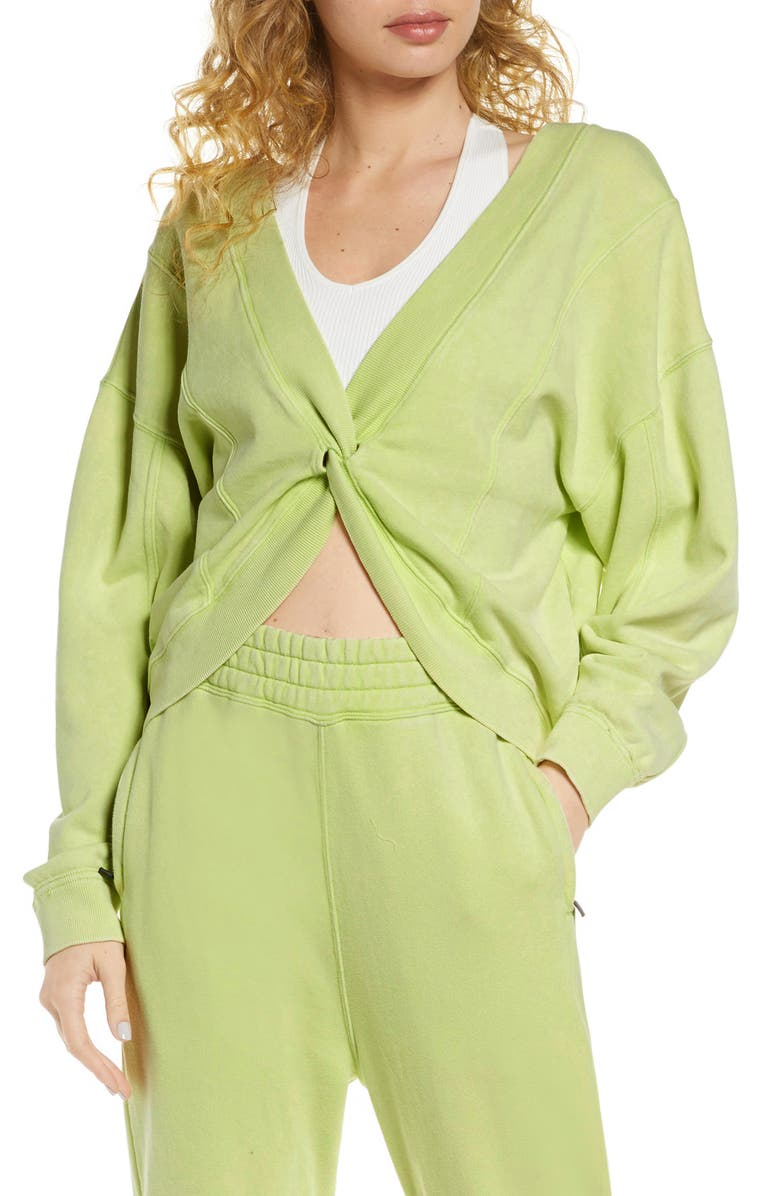 FREE PEOPLE FP MOVEMENT Go for Gold Reversible Sweatshirt, Main, color, LIME