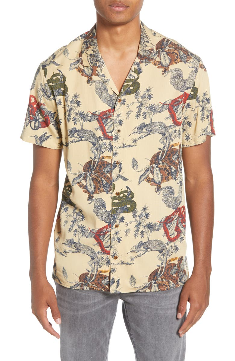 SCOTCH & SODA Slim Fit Print Short Sleeve Button-Up Sport Shirt, Main, color, BEIGE MULTI