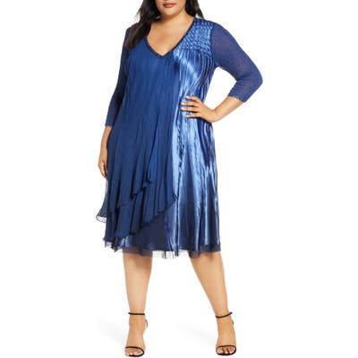 Plus Size Komarov Beaded V-Neck Cocktail Dress, Blue