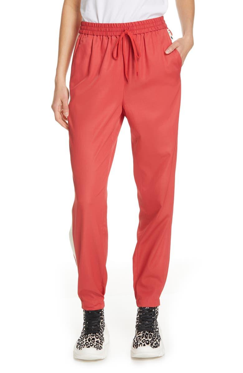 TIBI Drapey Tech Jogger Pants, Main, color, WASHED RED MULTI