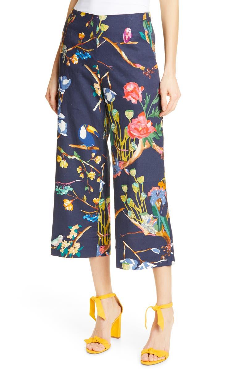 TANYA TAYLOR Evelyn Wide Leg Crop Linen Blend Pants, Main, color, 476
