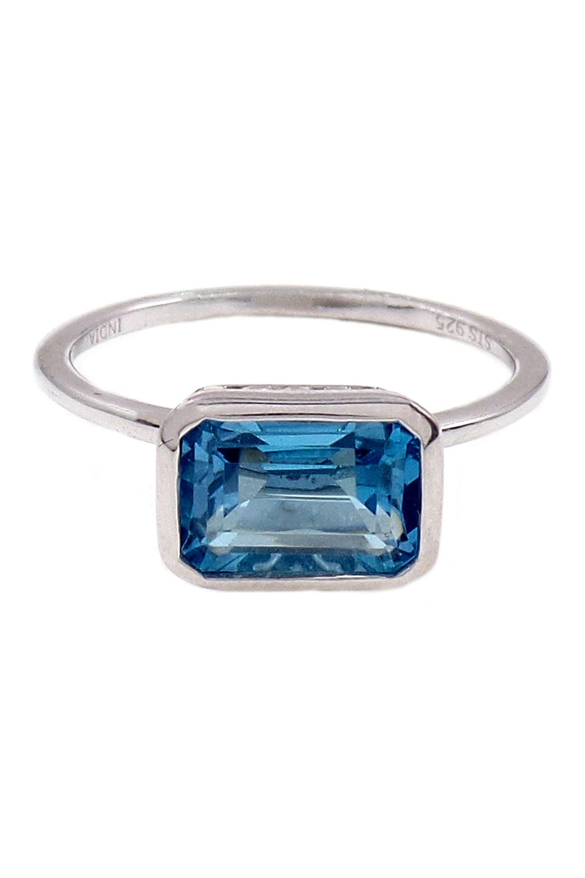 Image of Savvy Cie Sterling Silver Emerald Cut Swiss Blue Topaz Ring