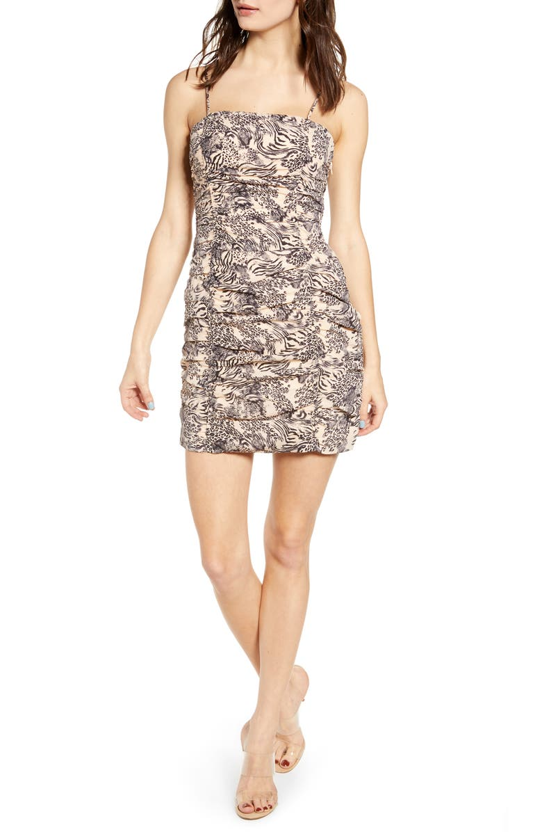 J.O.A. Ruched Body-Con Dress, Main, color, PEACH ANIMAL MIX