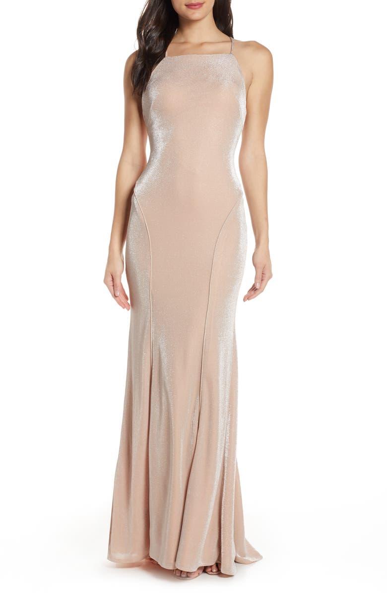 MAC DUGGAL Shimmering Metallic Mermaid Prom Dress, Main, color, ROSE QUARTZ