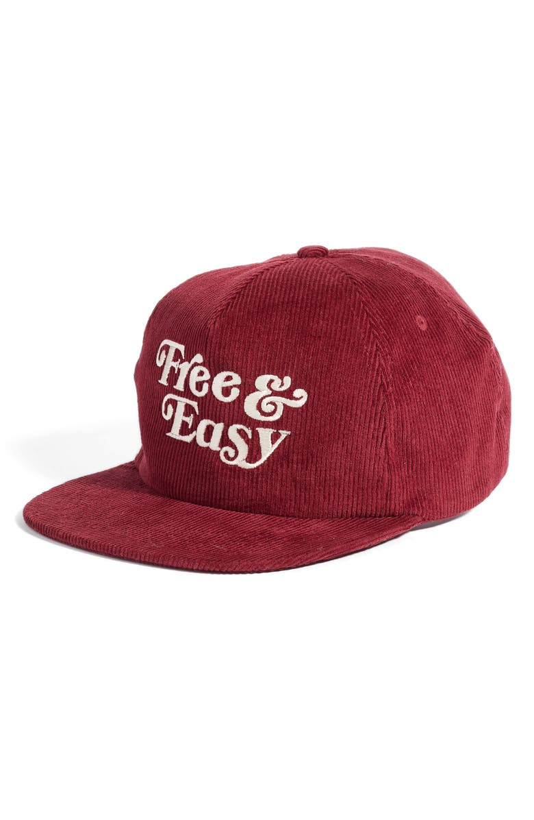 FREE & EASY Logo Embroidered Corduroy Snapback Hat, Main, color, 930