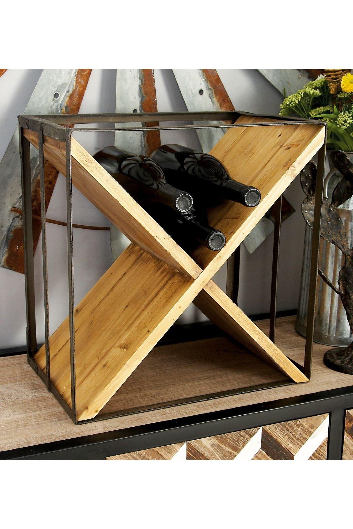 Image of Willow Row Cedar Brown/Iron Black Modern X-Frame Wine Rack