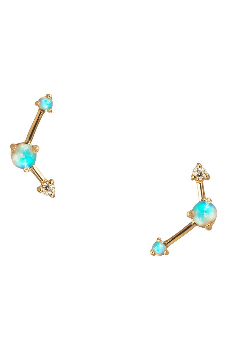 WWAKE Counting Collection Three-Step Opal & Diamond Point Earrings, Main, color, YELLOW GOLD/ DIAMOND/ OPAL
