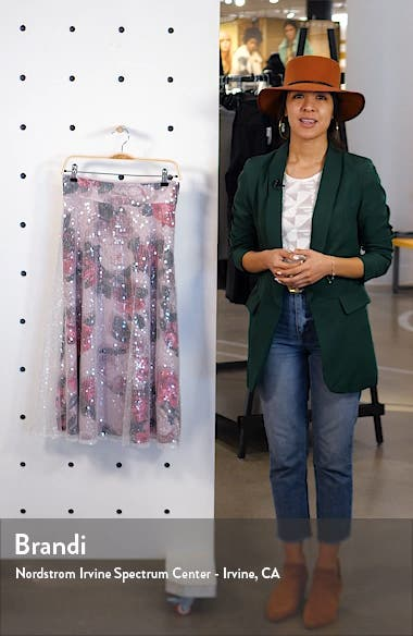 Sequin Floral Flared Skirt, sales video thumbnail