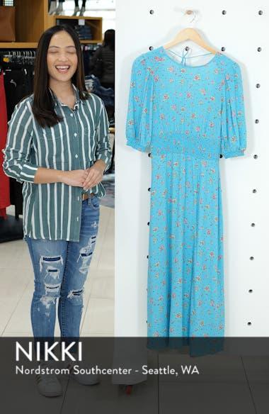 Print Smocked Waist Midi Dress, sales video thumbnail