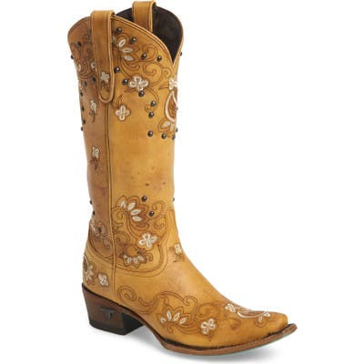Lane Boots Sweet Paisley Embroidered Western Boot, Beige