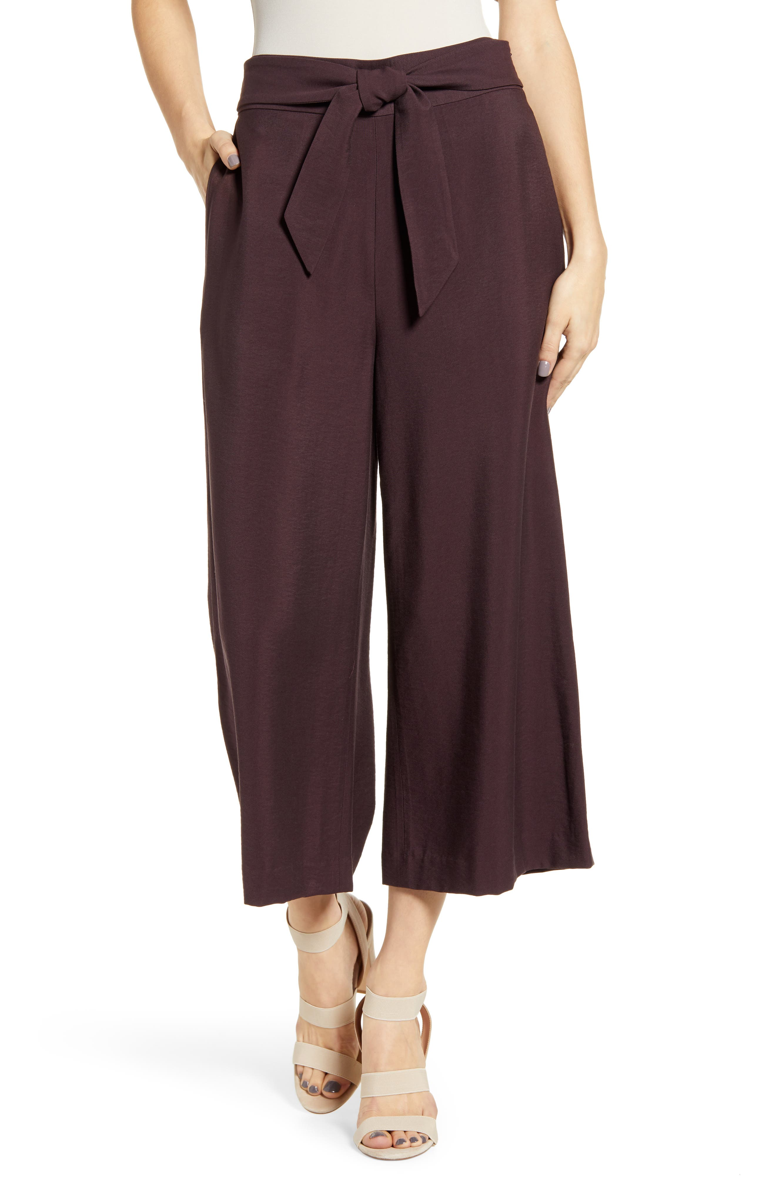 Leith Tie Front High Rise Wide Leg Crop Pants (Regular & Plus Size)