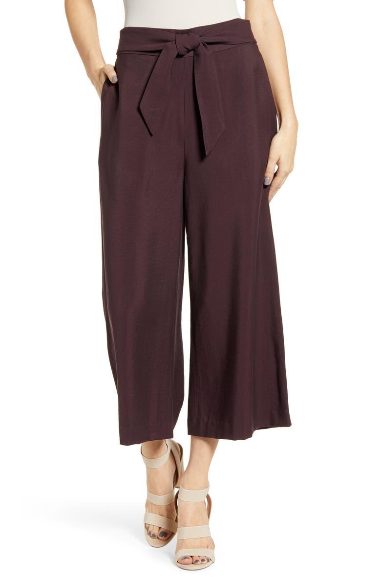 LEITH Tie Front High Rise Wide Leg Crop Pants, Main, color, 938