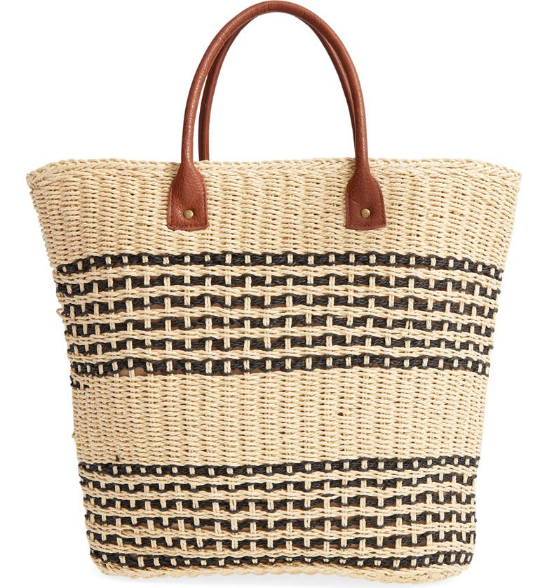 SAN DIEGO HAT Stripe Straw Tote, Main, color, 250