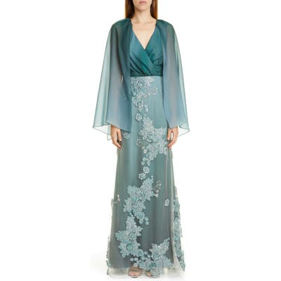 Patbo Ombre Cape Effect Gown, 6 BR - Blue/green