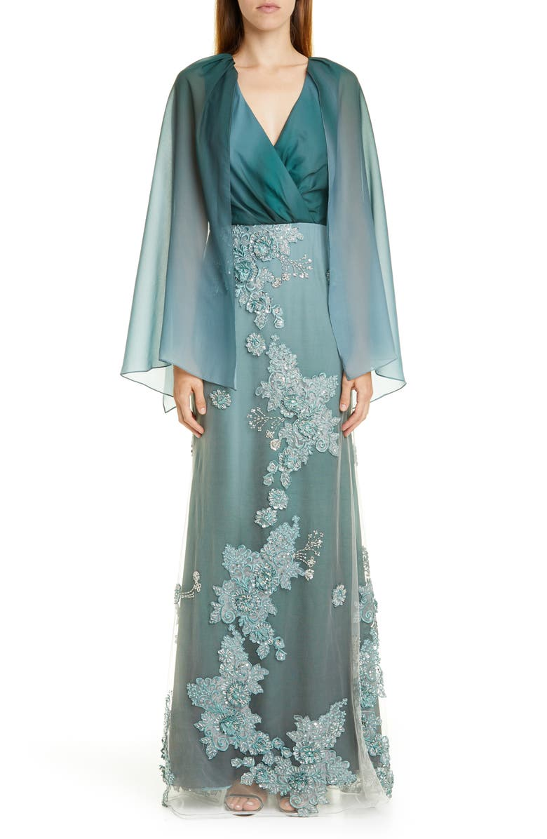 PATBO Ombré Cape Effect Gown, Main, color, JADE