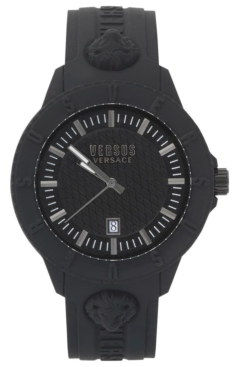 VERSUS VERSACE VERSUS by Versace Tokyo Silicone Strap Watch, 43mm, Main, color, 001