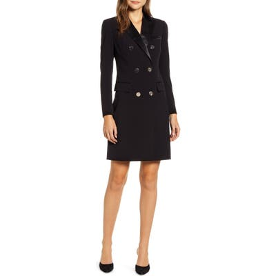 Anne Klein Long Sleeve Tuxedo Sheath Dress, Black