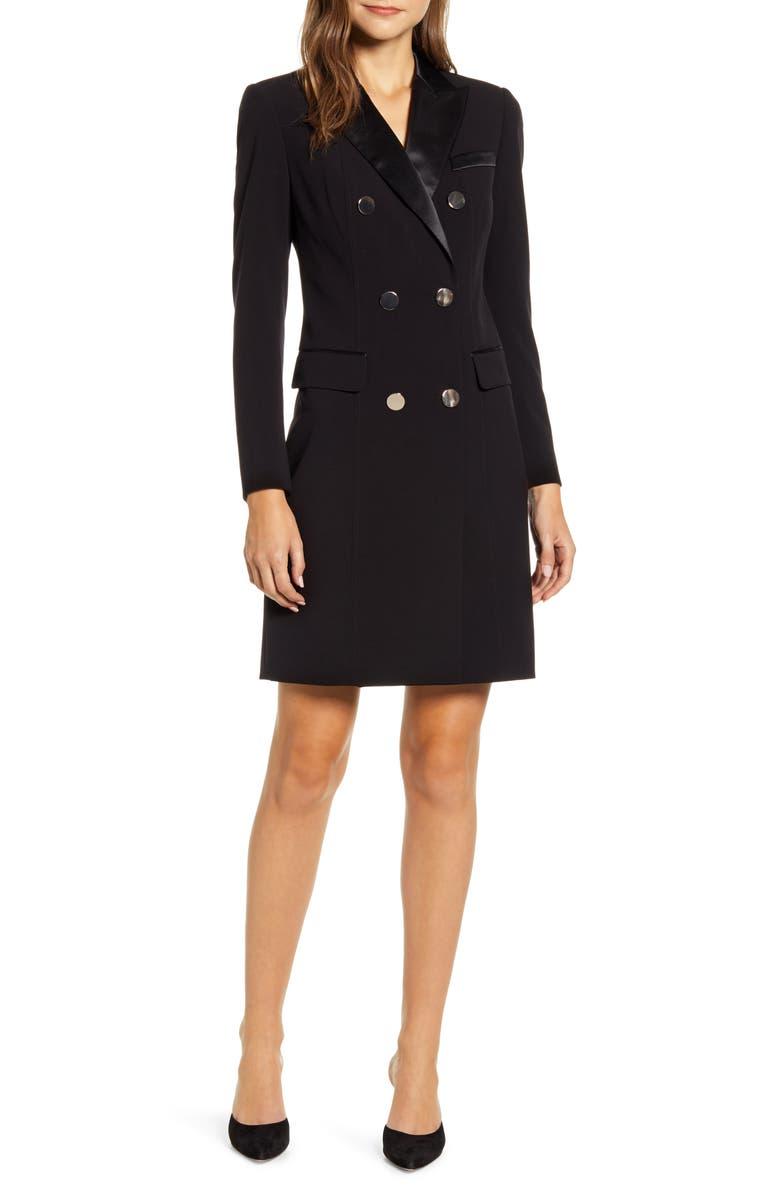 ANNE KLEIN Long Sleeve Tuxedo Sheath Dress, Main, color, ANNE BLACK