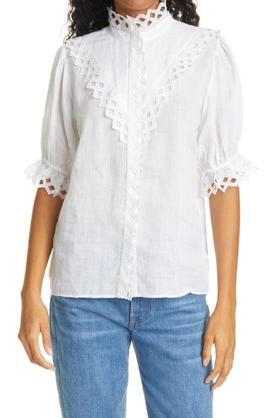 Frame Tops EMBROIDERED HIGH NECK SHORT SLEEVE TOP