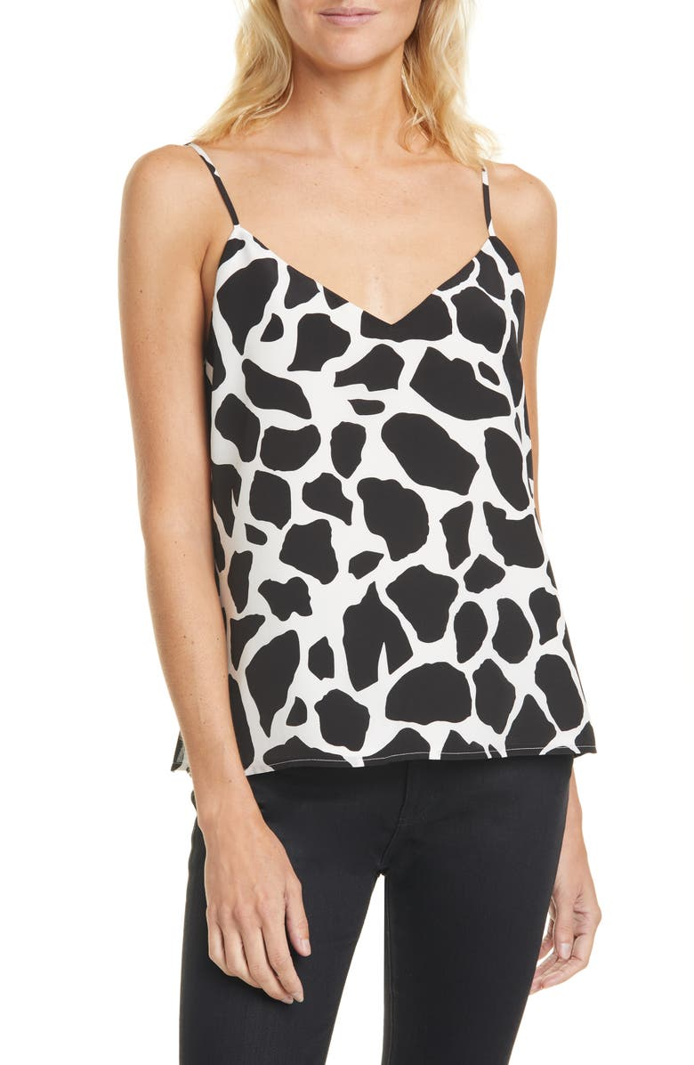 L'AGENCE Jane Animal Print Silk Camisole, Main, color, IVORY/ BLACK