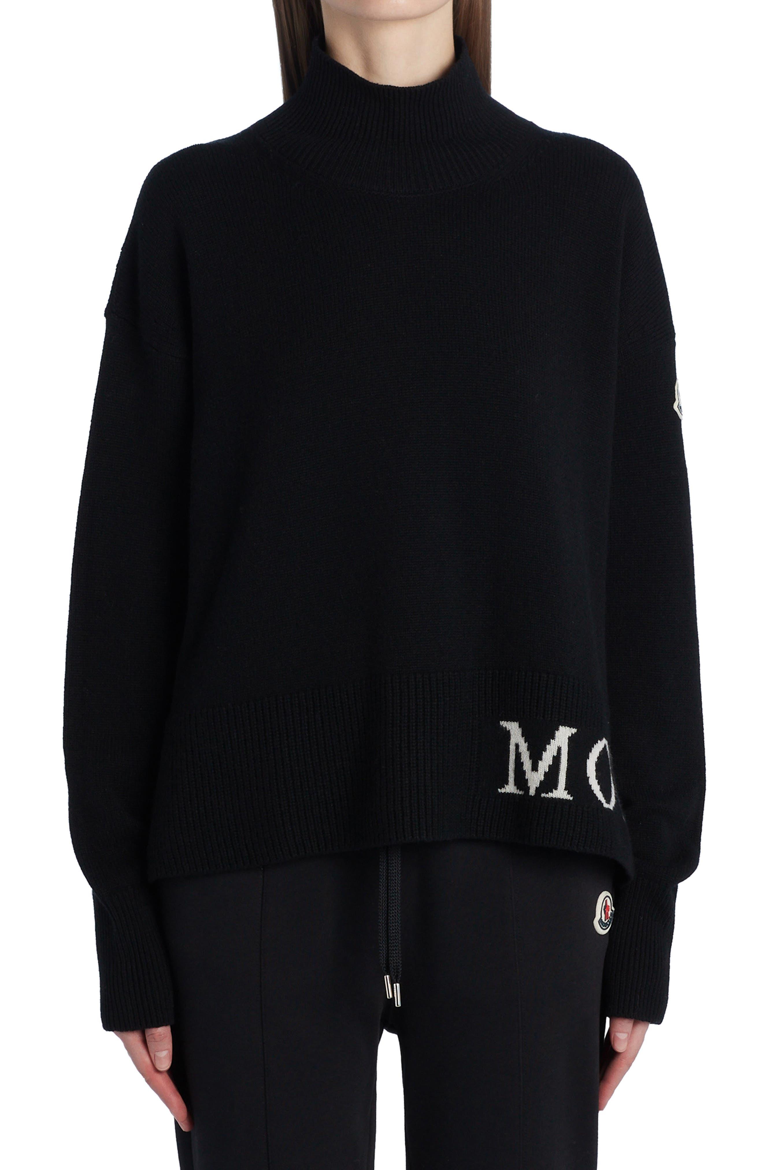 Women's Moncler Logo Oversize Virgin Wool & Cashmere Sweater