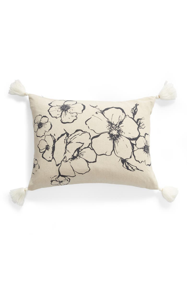 LEVTEX Blooming Floral Tassel Accent Pillow, Main, color, NATURAL